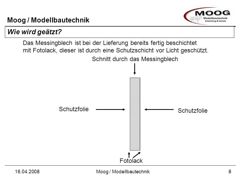 Moog / Modellbautechnik 16.04.2008Moog / Modellbautechnik8 Schnitt durch das Messingblech Wie wird geätzt? Das Messingblech ist bei der Lieferung bere