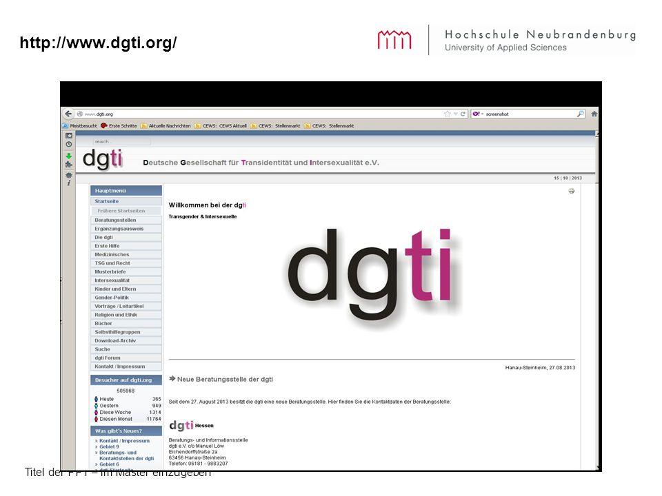 http://www.dgti.org/ Titel der PPT – im Master einzugeben
