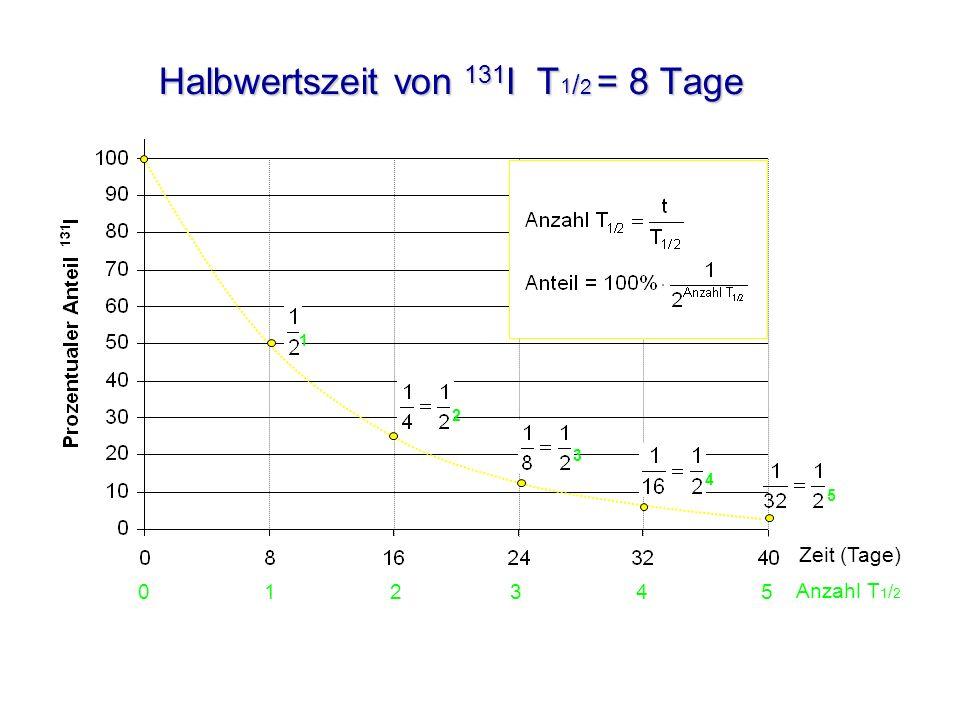 Halbwertszeit von 131 I T 1 / 2 = 8 Tage 12 3 4 5 Zeit (Tage) 0 1 2 3 4 5 Anzahl T 1 / 2