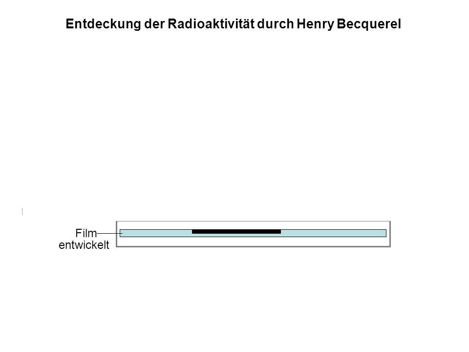 Film Metallfolie, lichtundurchlässig Uransalz entwickelt Entdeckung der Radioaktivität durch Henry Becquerel