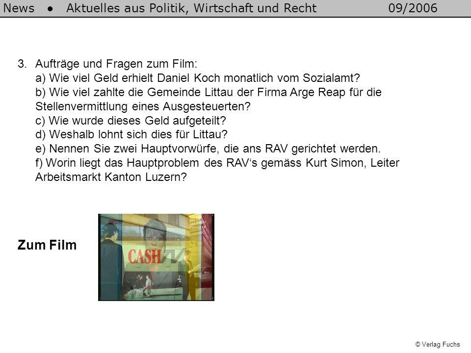 3.Aufträge und Fragen zum Film: a) Wie viel Geld erhielt Daniel Koch monatlich vom Sozialamt? b) Wie viel zahlte die Gemeinde Littau der Firma Arge Re