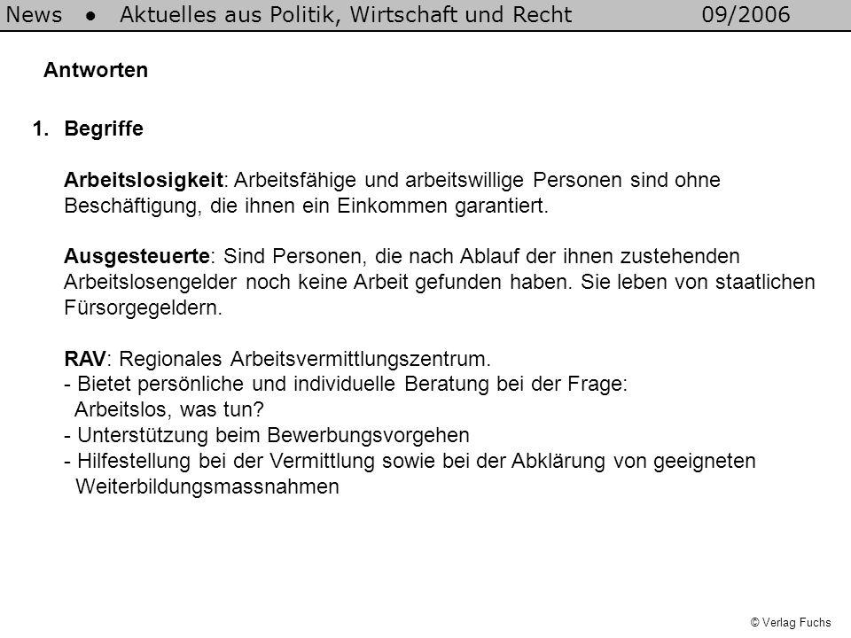 Antworten © Verlag Fuchs News Aktuelles aus Politik, Wirtschaft und Recht09/2006 1.Begriffe Arbeitslosigkeit: Arbeitsfähige und arbeitswillige Personen sind ohne Beschäftigung, die ihnen ein Einkommen garantiert.