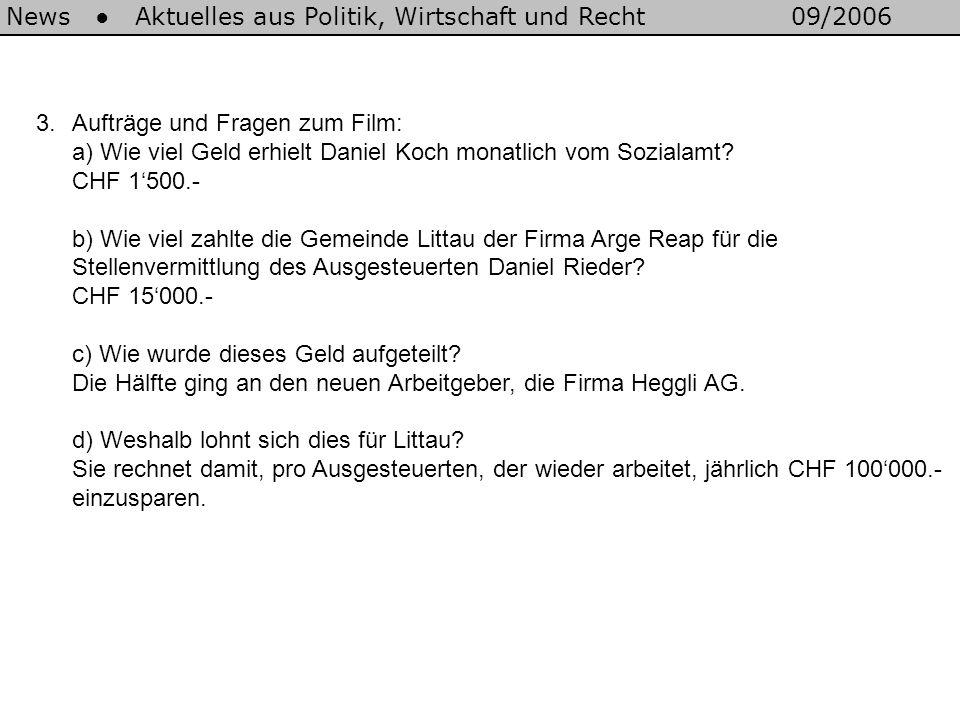 News Aktuelles aus Politik, Wirtschaft und Recht09/2006 3.Aufträge und Fragen zum Film: a) Wie viel Geld erhielt Daniel Koch monatlich vom Sozialamt?