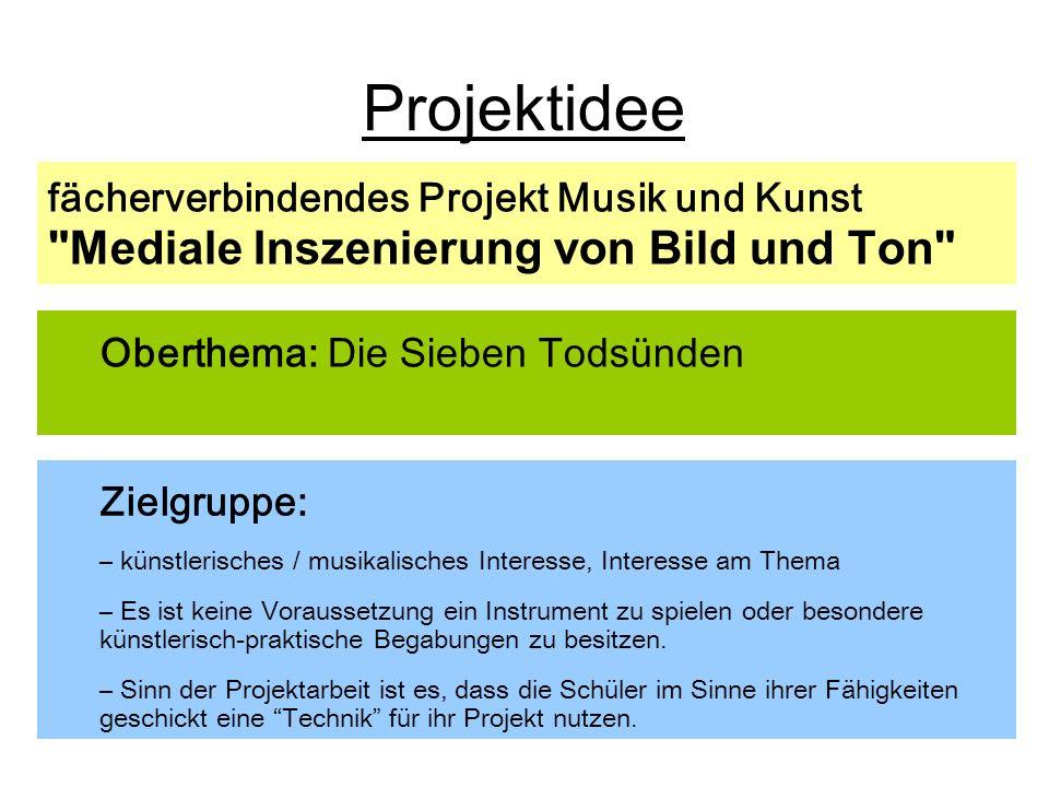 Um eine Vernetzung der Disziplinen Kunst und Musik zum Thema herzustellen, sind folgende Zugänge denkbar: live Performance auf Instrumenten zu Bildern (kann auch impovisatorisch sein) z.