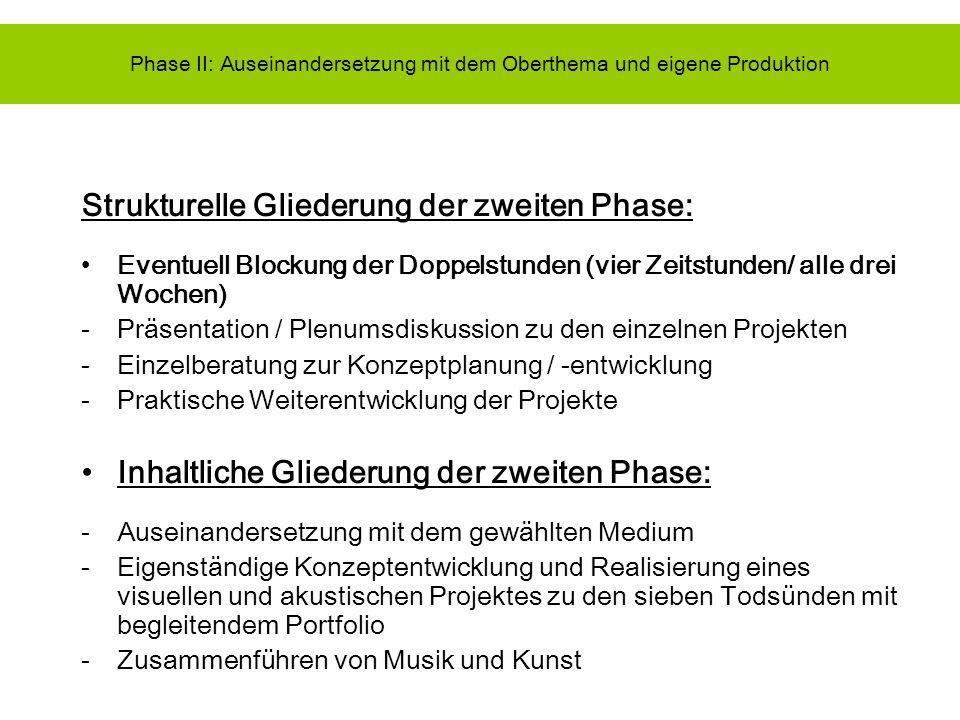 Phase II: Auseinandersetzung mit dem Oberthema und eigene Produktion Strukturelle Gliederung der zweiten Phase: Eventuell Blockung der Doppelstunden (