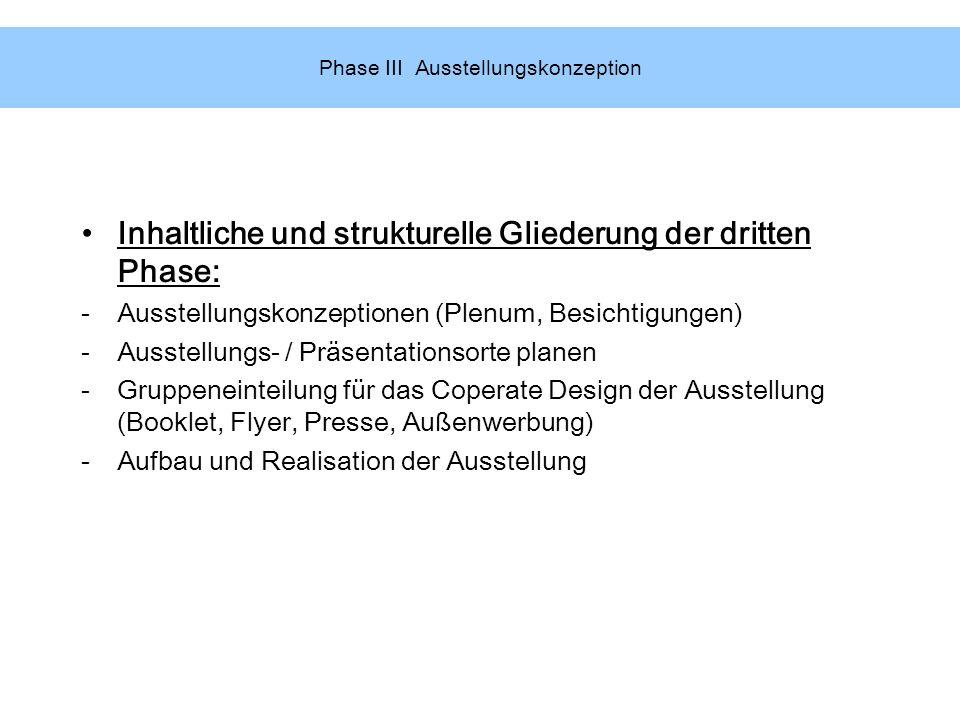 Phase III Ausstellungskonzeption Inhaltliche und strukturelle Gliederung der dritten Phase: -Ausstellungskonzeptionen (Plenum, Besichtigungen) -Ausste