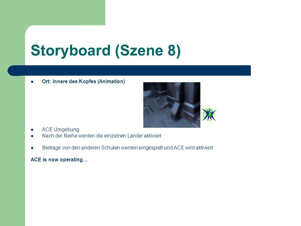 Storyboard (Szene 8) Ort: Innere des Kopfes (Animation) ACE Umgebung Nach der Reihe werden die einzelnen Länder aktiviert Beiträge von den anderen Schulen werden eingespielt und ACE wird aktiviert ACE is now operating…