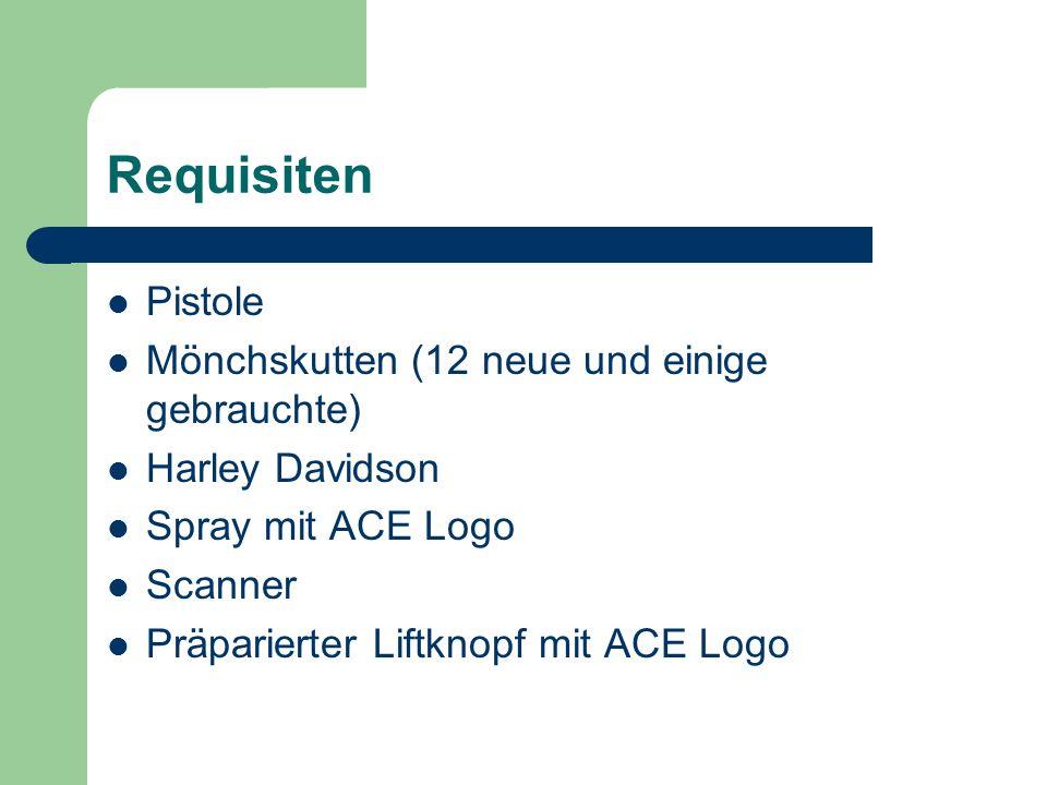 Requisiten Pistole Mönchskutten (12 neue und einige gebrauchte) Harley Davidson Spray mit ACE Logo Scanner Präparierter Liftknopf mit ACE Logo