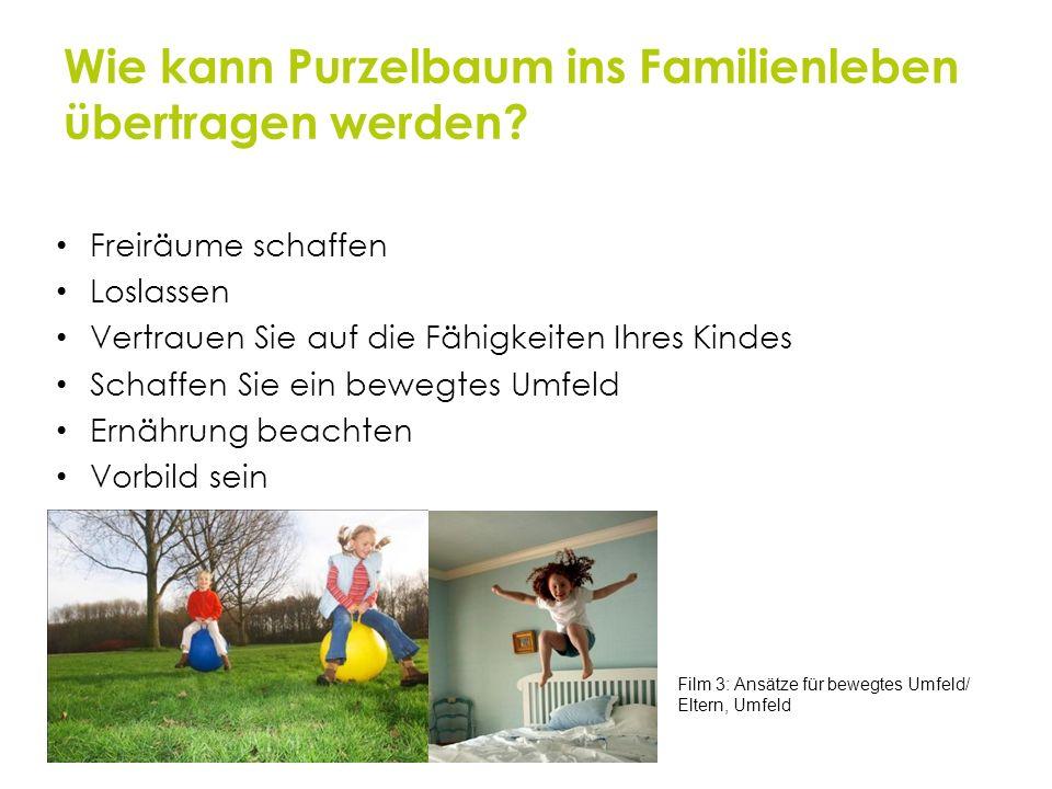 Wie kann Purzelbaum ins Familienleben übertragen werden? Freiräume schaffen Loslassen Vertrauen Sie auf die Fähigkeiten Ihres Kindes Schaffen Sie ein