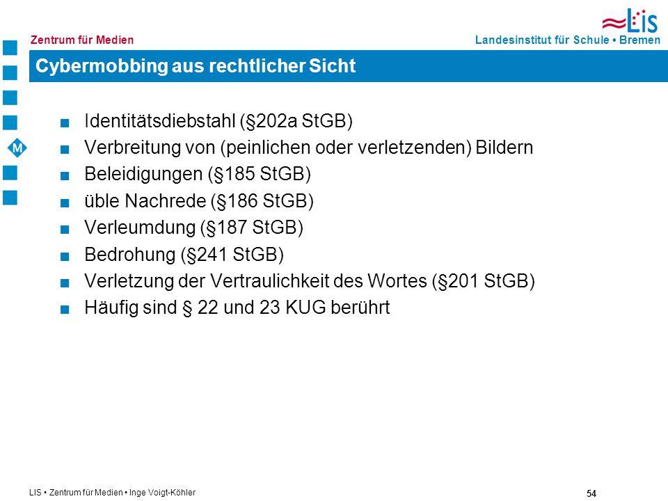 54 LIS Zentrum für Medien Inge Voigt-Köhler Landesinstitut für Schule BremenZentrum für Medien Cybermobbing aus rechtlicher Sicht Identitätsdiebstahl