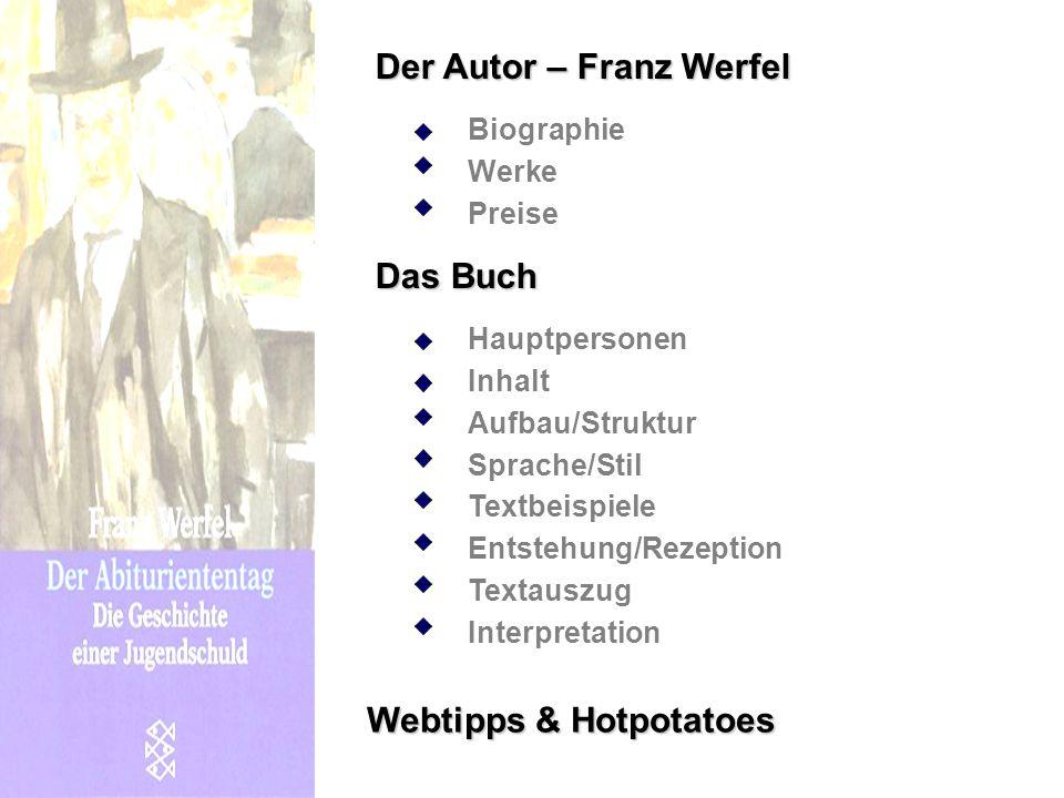 Der Autor – Franz Werfel Biographie Preise Werke Das Buch Hauptpersonen Inhalt Aufbau/Struktur Sprache/Stil Entstehung/Rezeption Textauszug Interpreta