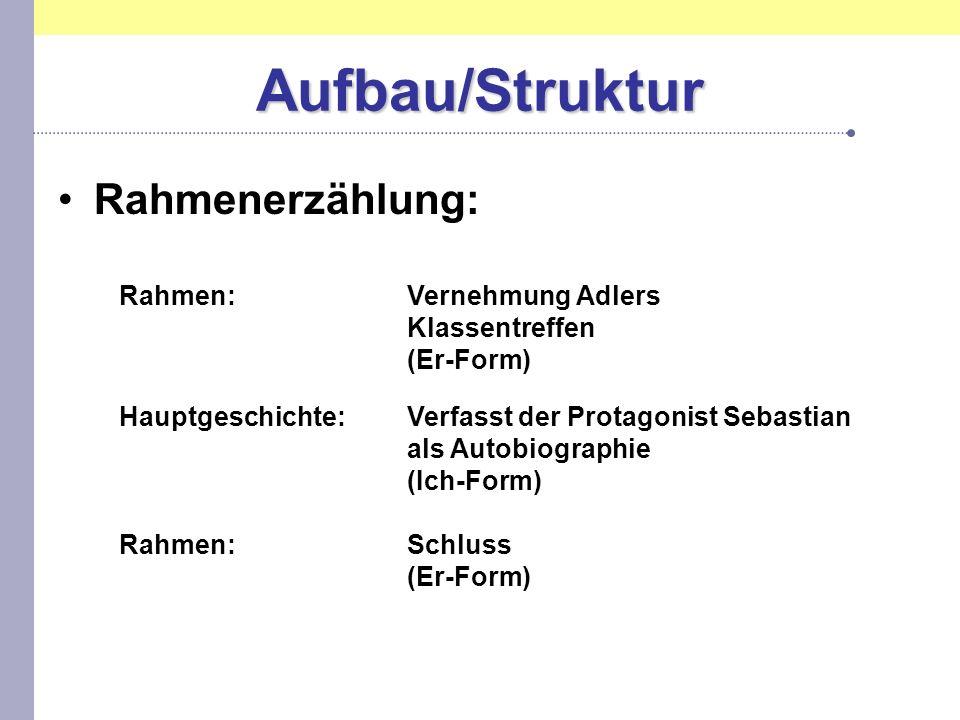 Aufbau/Struktur Rahmenerzählung: Rahmen:Vernehmung Adlers Klassentreffen (Er-Form) Hauptgeschichte:Verfasst der Protagonist Sebastian als Autobiograph