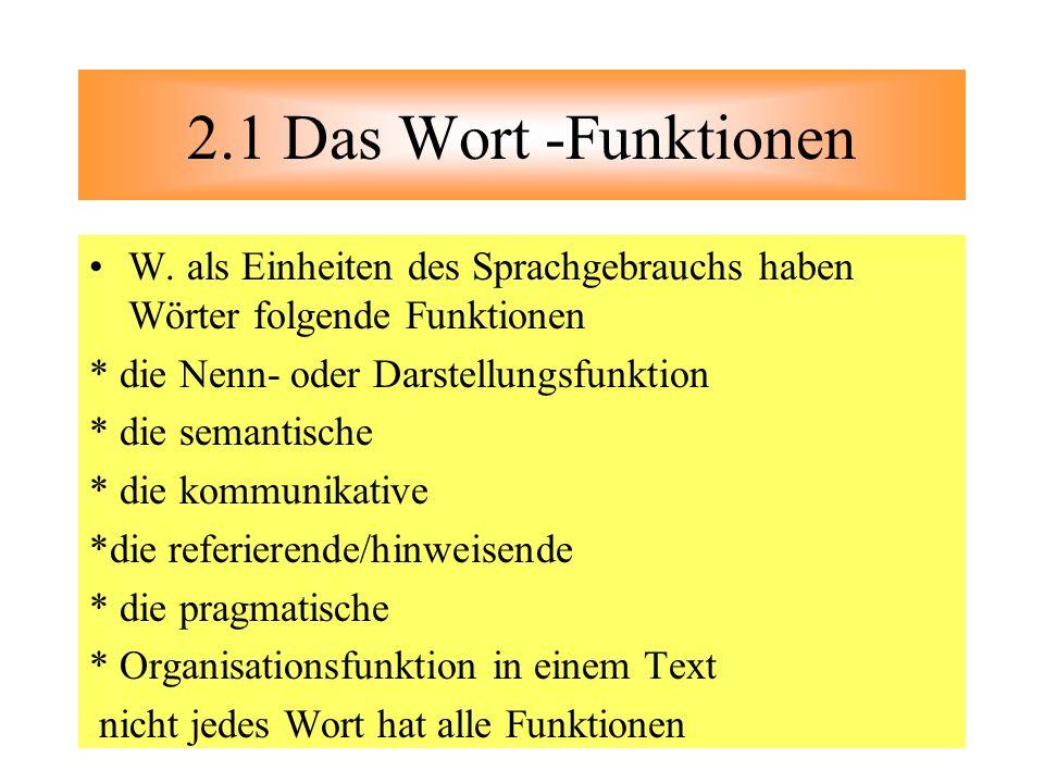 W. als Einheiten des Sprachgebrauchs haben Wörter folgende Funktionen * die Nenn- oder Darstellungsfunktion * die semantische * die kommunikative *die