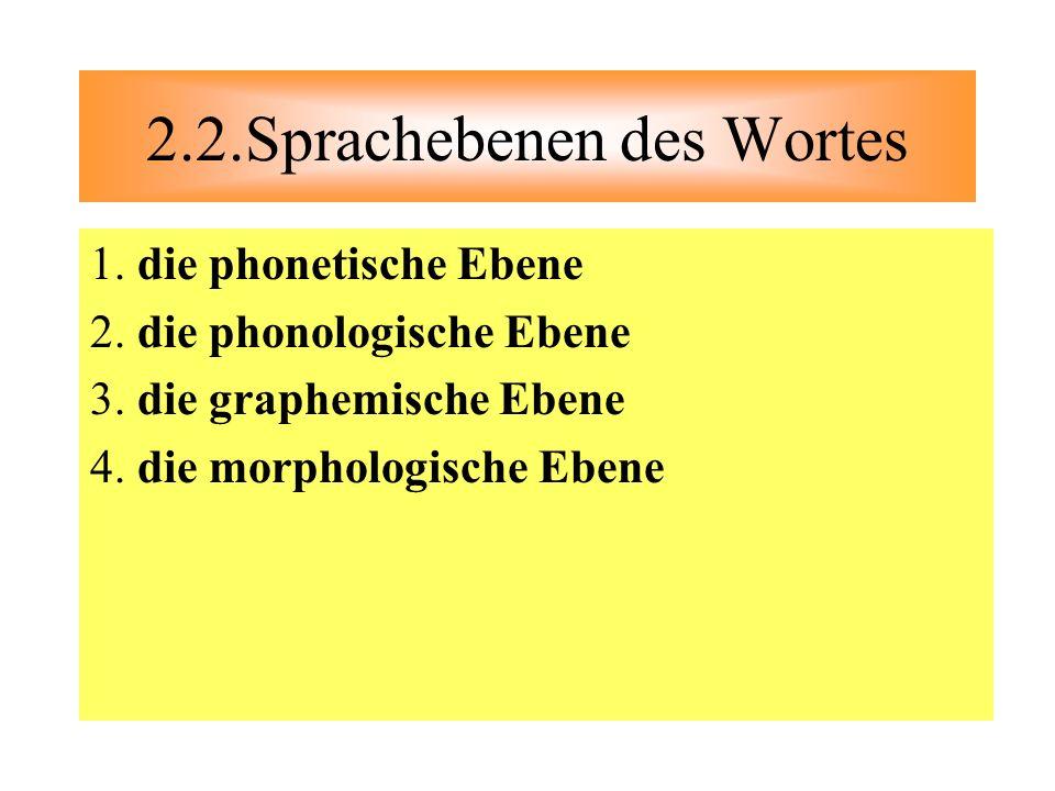 1. die phonetische Ebene 2. die phonologische Ebene 3. die graphemische Ebene 4. die morphologische Ebene 2.2.Sprachebenen des Wortes