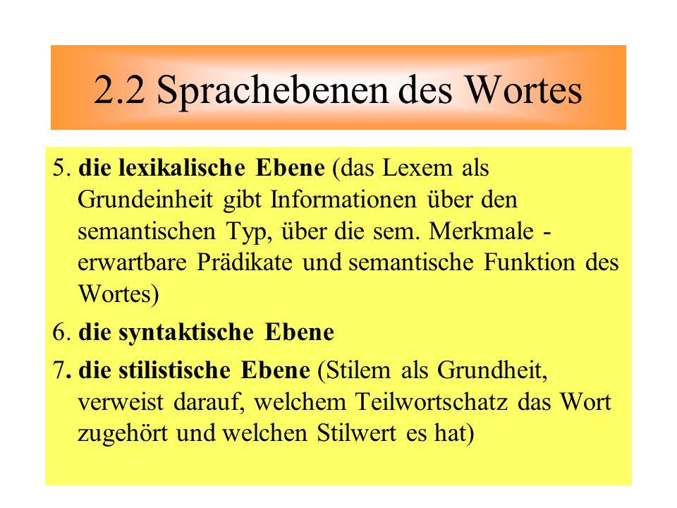 5. die lexikalische Ebene (das Lexem als Grundeinheit gibt Informationen über den semantischen Typ, über die sem. Merkmale - erwartbare Prädikate und