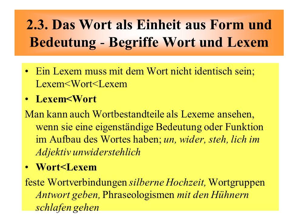Ein Lexem muss mit dem Wort nicht identisch sein; Lexem<Wort<Lexem Lexem<Wort Man kann auch Wortbestandteile als Lexeme ansehen, wenn sie eine eigenst