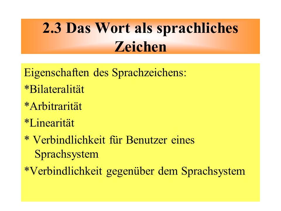 Eigenschaften des Sprachzeichens: *Bilateralität *Arbitrarität *Linearität * Verbindlichkeit für Benutzer eines Sprachsystem *Verbindlichkeit gegenübe