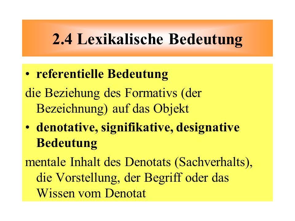referentielle Bedeutung die Beziehung des Formativs (der Bezeichnung) auf das Objekt denotative, signifikative, designative Bedeutung mentale Inhalt d