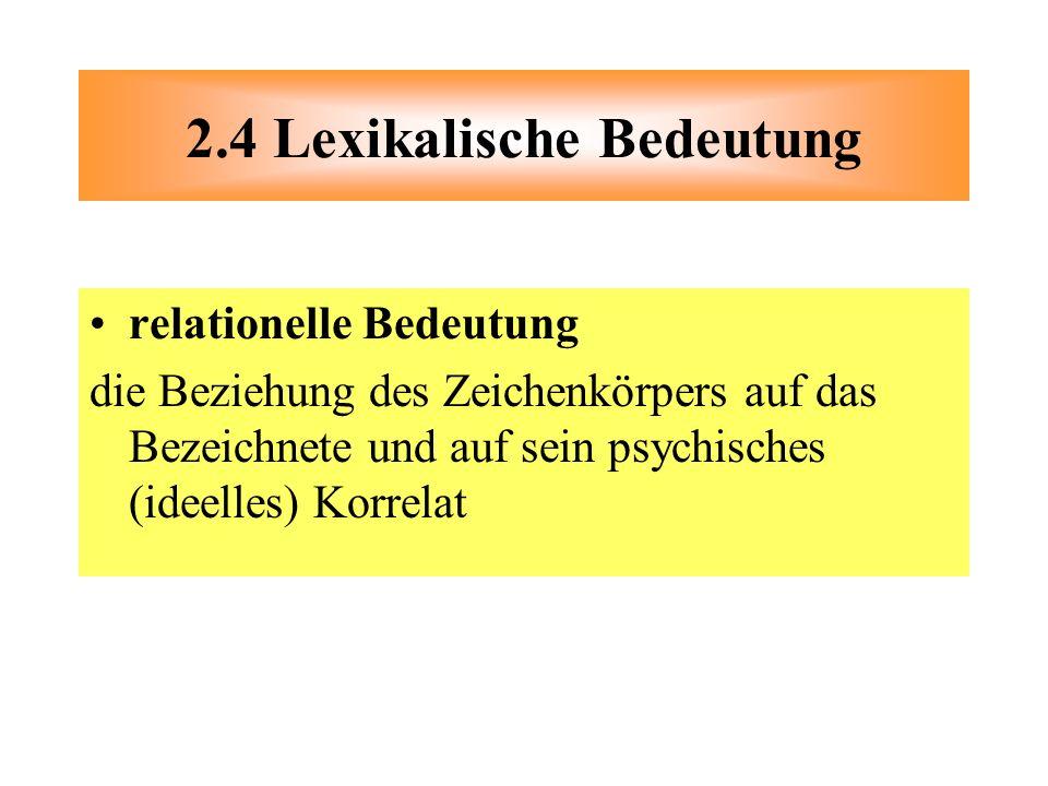 relationelle Bedeutung die Beziehung des Zeichenkörpers auf das Bezeichnete und auf sein psychisches (ideelles) Korrelat 2.4 Lexikalische Bedeutung