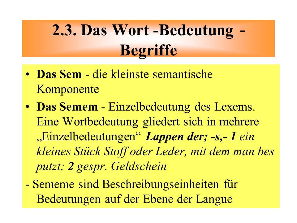 Das Sem - die kleinste semantische Komponente Das Semem - Einzelbedeutung des Lexems. Eine Wortbedeutung gliedert sich in mehrere Einzelbedeutungen La