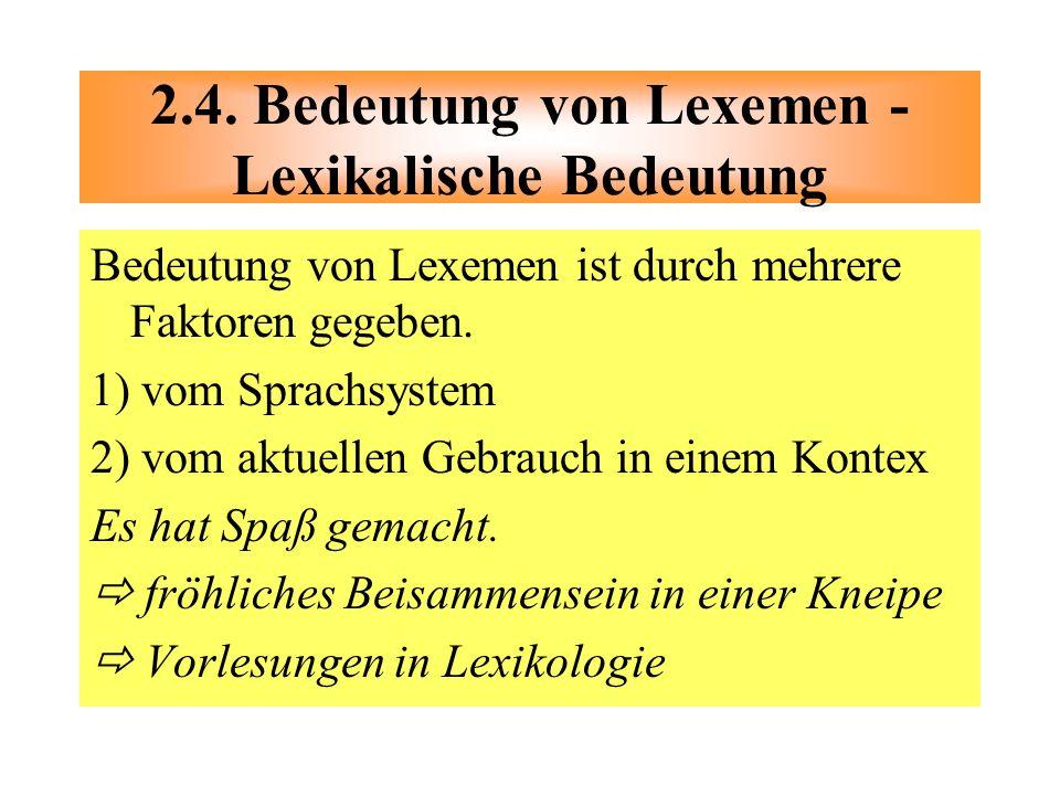 Bedeutung von Lexemen ist durch mehrere Faktoren gegeben. 1) vom Sprachsystem 2) vom aktuellen Gebrauch in einem Kontex Es hat Spaß gemacht. fröhliche