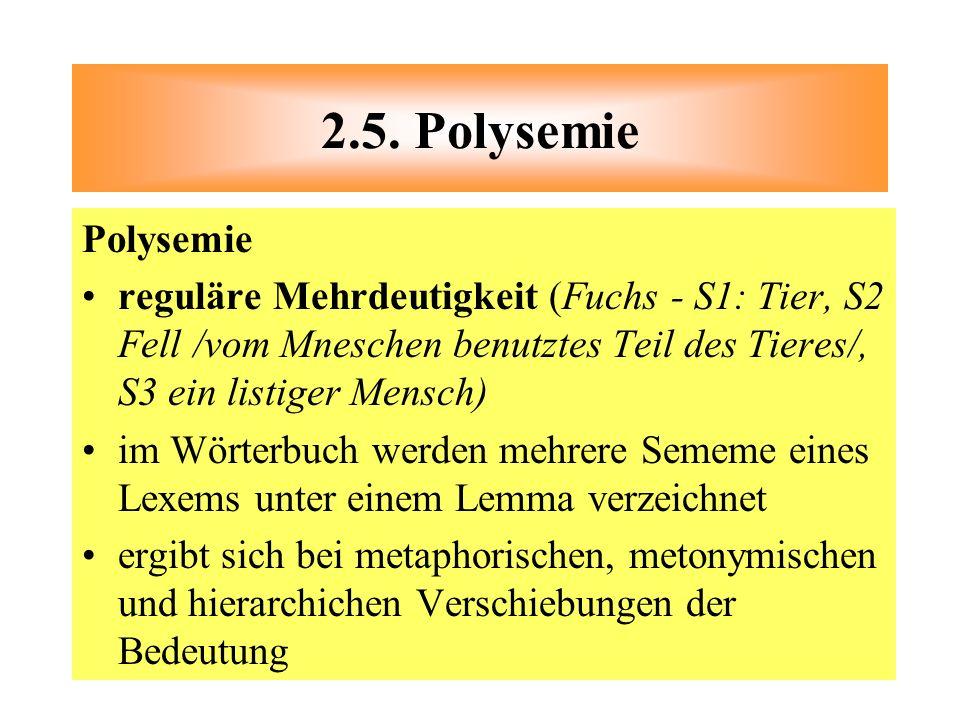 Polysemie reguläre Mehrdeutigkeit (Fuchs - S1: Tier, S2 Fell /vom Mneschen benutztes Teil des Tieres/, S3 ein listiger Mensch) im Wörterbuch werden me