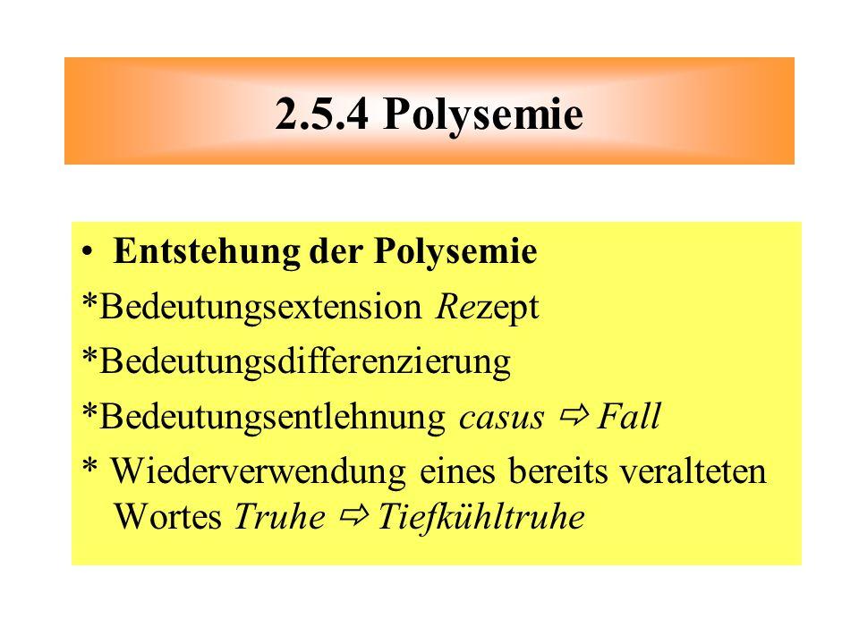 Entstehung der Polysemie *Bedeutungsextension Rezept *Bedeutungsdifferenzierung *Bedeutungsentlehnung casus Fall * Wiederverwendung eines bereits vera