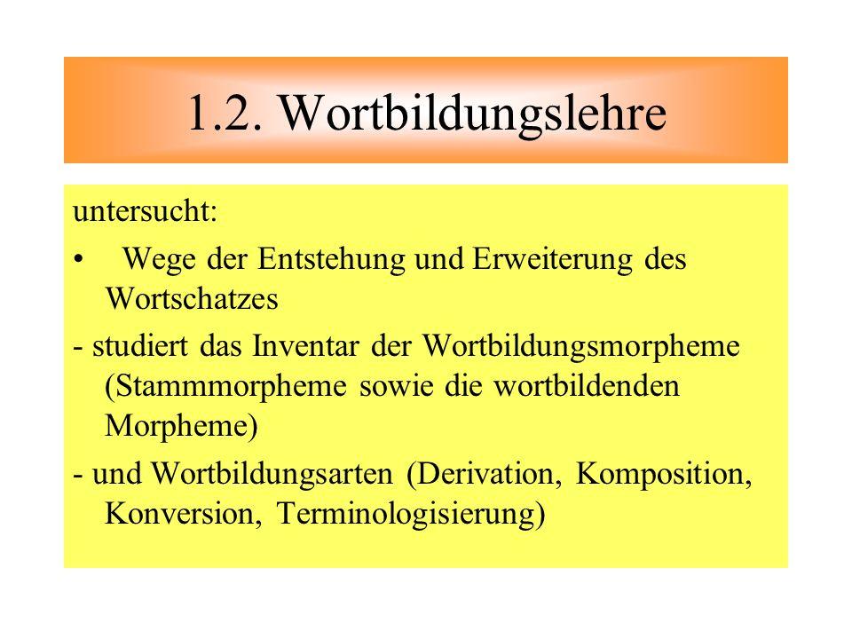 1.2. Wortbildungslehre untersucht: Wege der Entstehung und Erweiterung des Wortschatzes - studiert das Inventar der Wortbildungsmorpheme (Stammmorphem