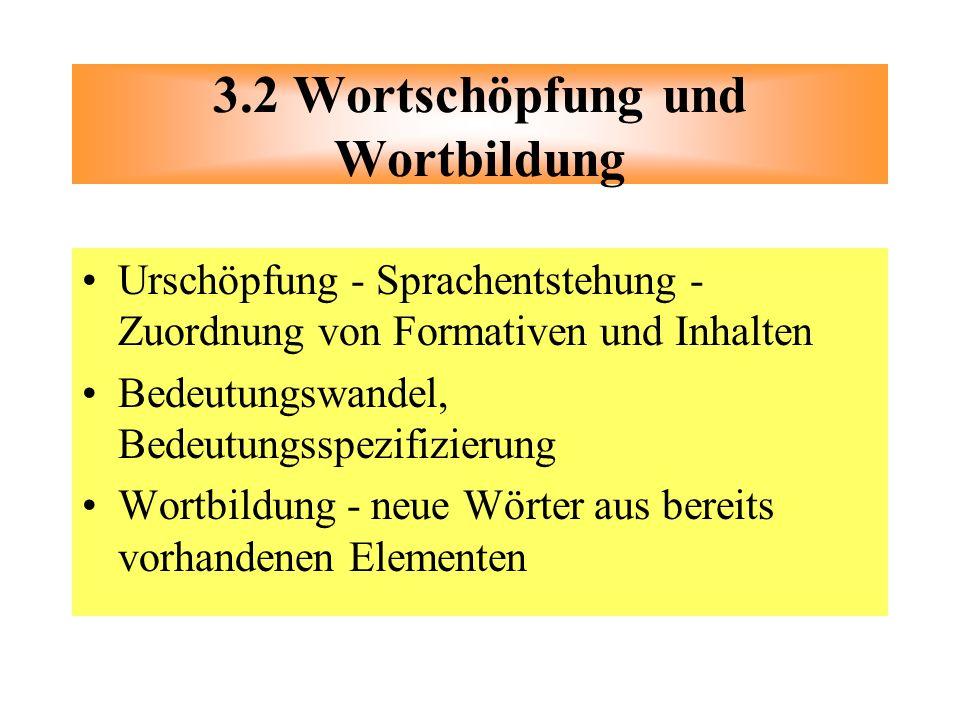 Urschöpfung - Sprachentstehung - Zuordnung von Formativen und Inhalten Bedeutungswandel, Bedeutungsspezifizierung Wortbildung - neue Wörter aus bereit