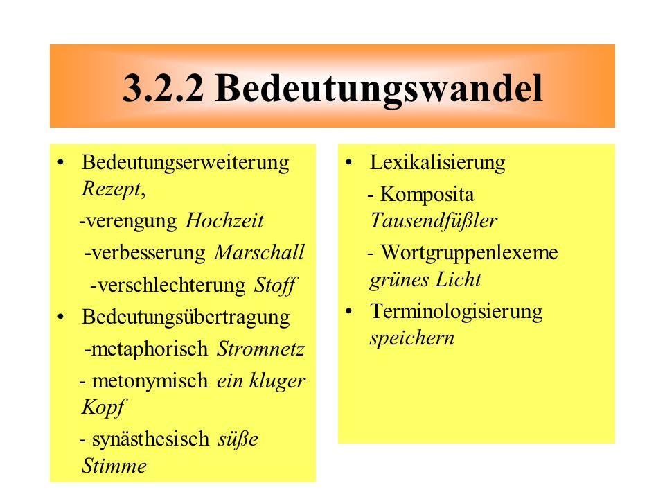 Bedeutungserweiterung Rezept, -verengung Hochzeit -verbesserung Marschall -verschlechterung Stoff Bedeutungsübertragung -metaphorisch Stromnetz - meto