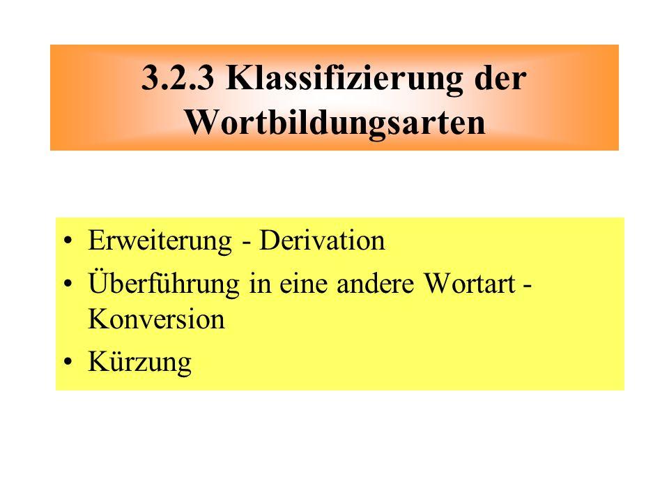 Erweiterung - Derivation Überführung in eine andere Wortart - Konversion Kürzung 3.2.3 Klassifizierung der Wortbildungsarten