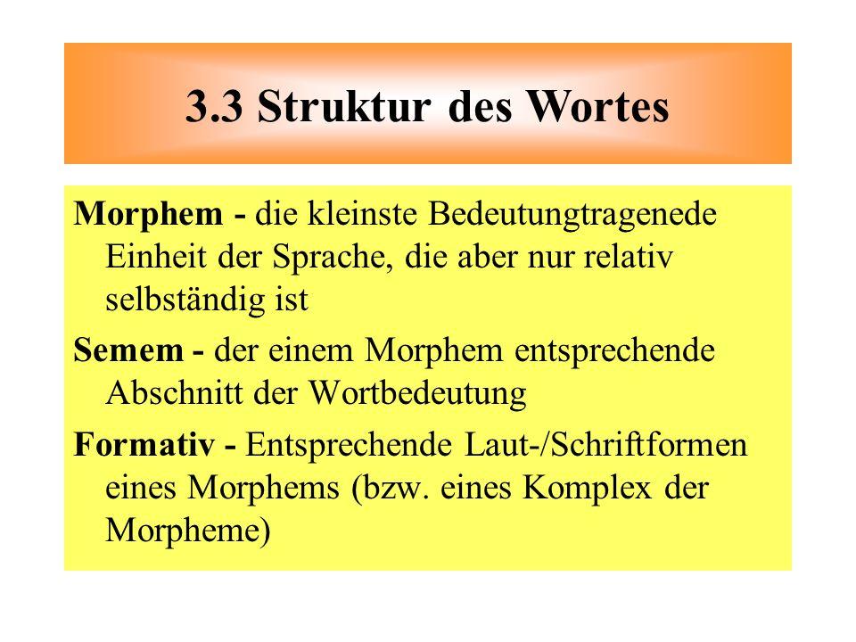 Morphem - die kleinste Bedeutungtragenede Einheit der Sprache, die aber nur relativ selbständig ist Semem - der einem Morphem entsprechende Abschnitt