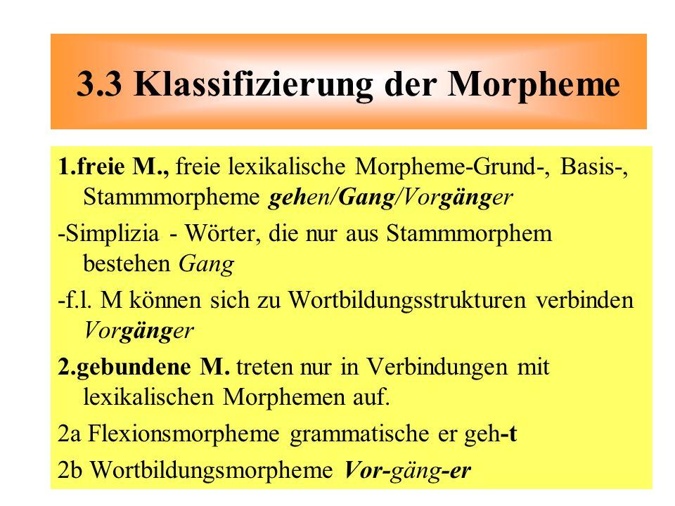 1.freie M., freie lexikalische Morpheme-Grund-, Basis-, Stammmorpheme gehen/Gang/Vorgänger -Simplizia - Wörter, die nur aus Stammmorphem bestehen Gang
