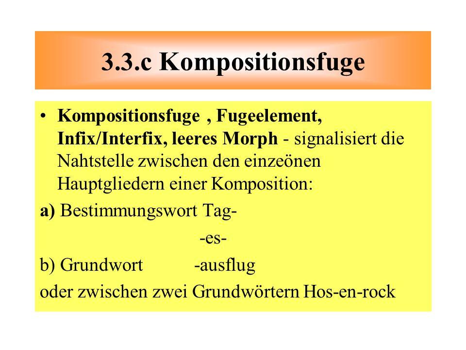 Kompositionsfuge, Fugeelement, Infix/Interfix, leeres Morph - signalisiert die Nahtstelle zwischen den einzeönen Hauptgliedern einer Komposition: a) B