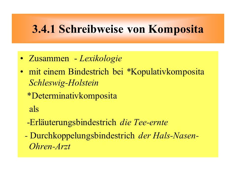 Zusammen - Lexikologie mit einem Bindestrich bei *Kopulativkomposita Schleswig-Holstein *Determinativkomposita als -Erläuterungsbindestrich die Tee-er