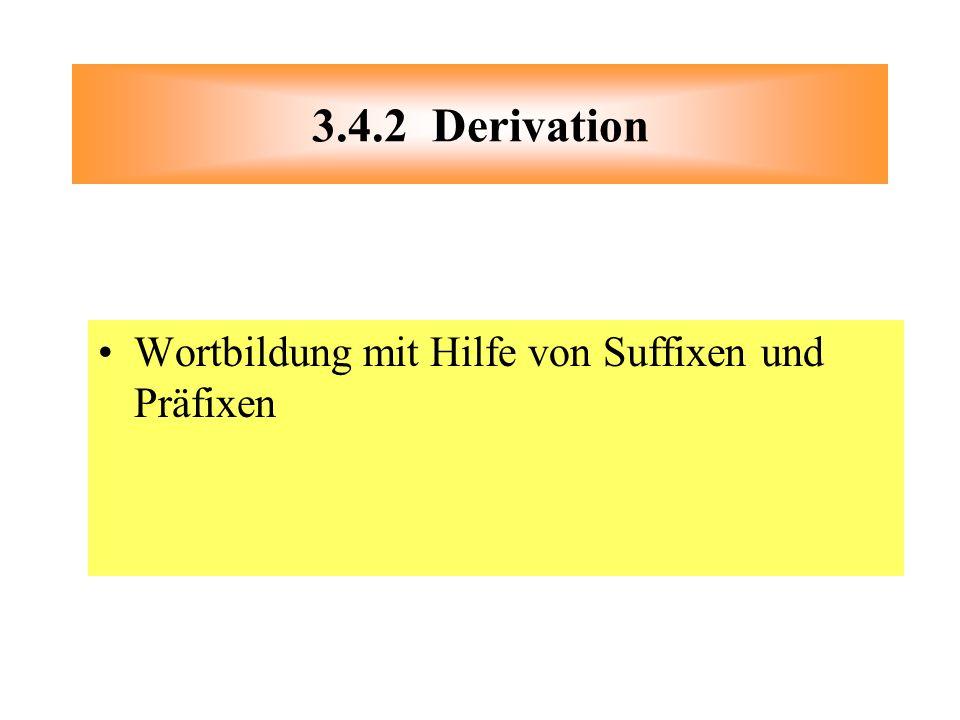Wortbildung mit Hilfe von Suffixen und Präfixen 3.4.2 Derivation