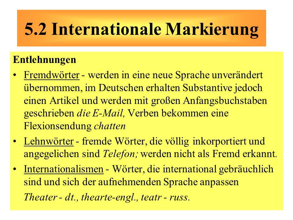 Entlehnungen Fremdwörter - werden in eine neue Sprache unverändert übernommen, im Deutschen erhalten Substantive jedoch einen Artikel und werden mit g
