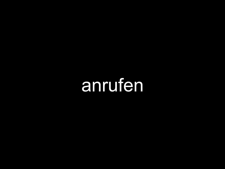 to call er/sie ruft … an er/sie rief … an er/sie hat … angerufen er/sie wird … anrufen er/sie würde … anrufen er/sie hätte …angerufen Beispiele im Kontext: http://www.linguee.de/deutsch- englisch/search?source=auto&query=anrufen http://www.linguee.de/deutsch- englisch/search?source=auto&query=anrufen