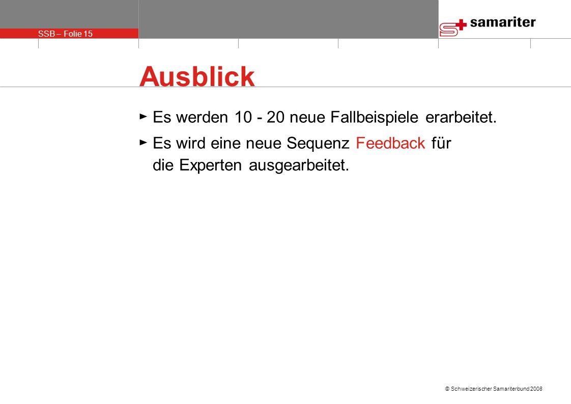 SSB – Folie 15 © Schweizerischer Samariterbund 2008 Ausblick Es werden 10 - 20 neue Fallbeispiele erarbeitet.