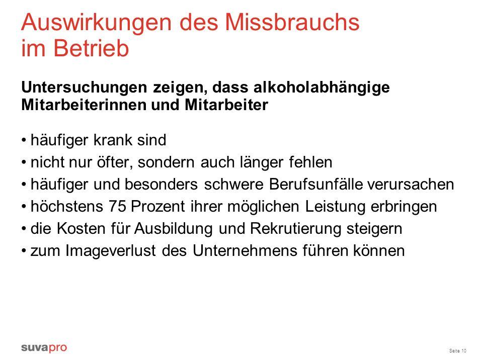 Seite 10 Auswirkungen des Missbrauchs im Betrieb Untersuchungen zeigen, dass alkoholabhängige Mitarbeiterinnen und Mitarbeiter häufiger krank sind nic