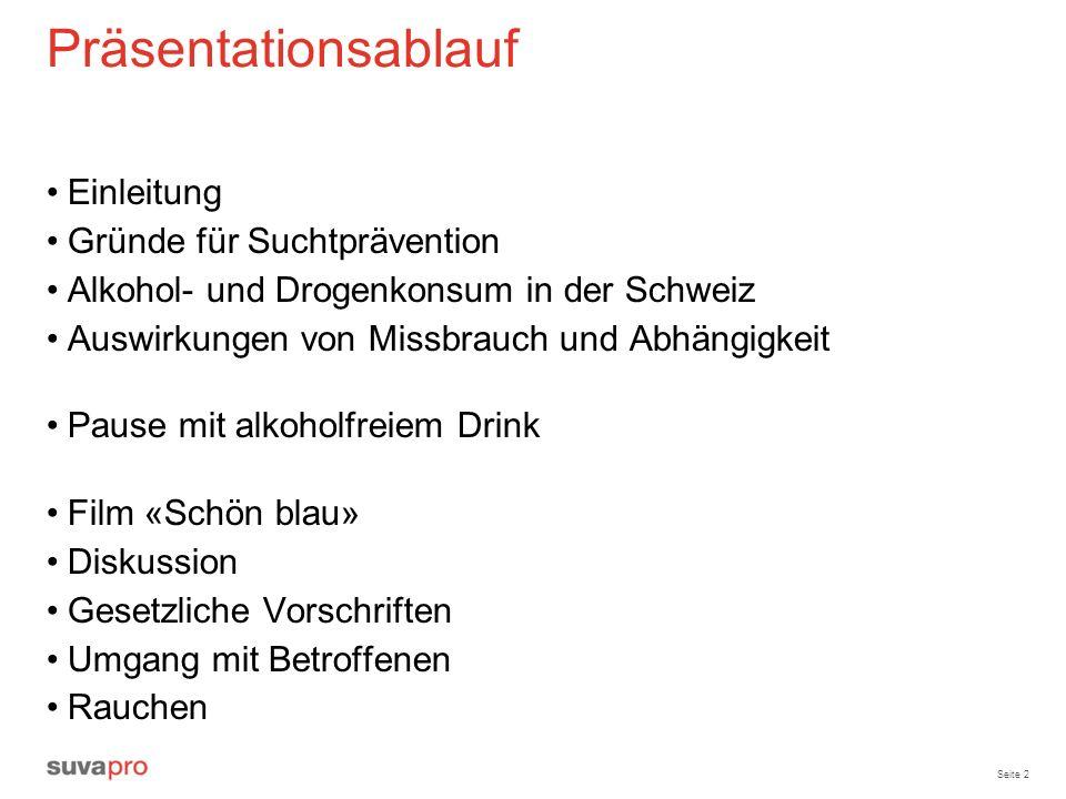Seite 2 Präsentationsablauf Einleitung Gründe für Suchtprävention Alkohol- und Drogenkonsum in der Schweiz Auswirkungen von Missbrauch und Abhängigkei