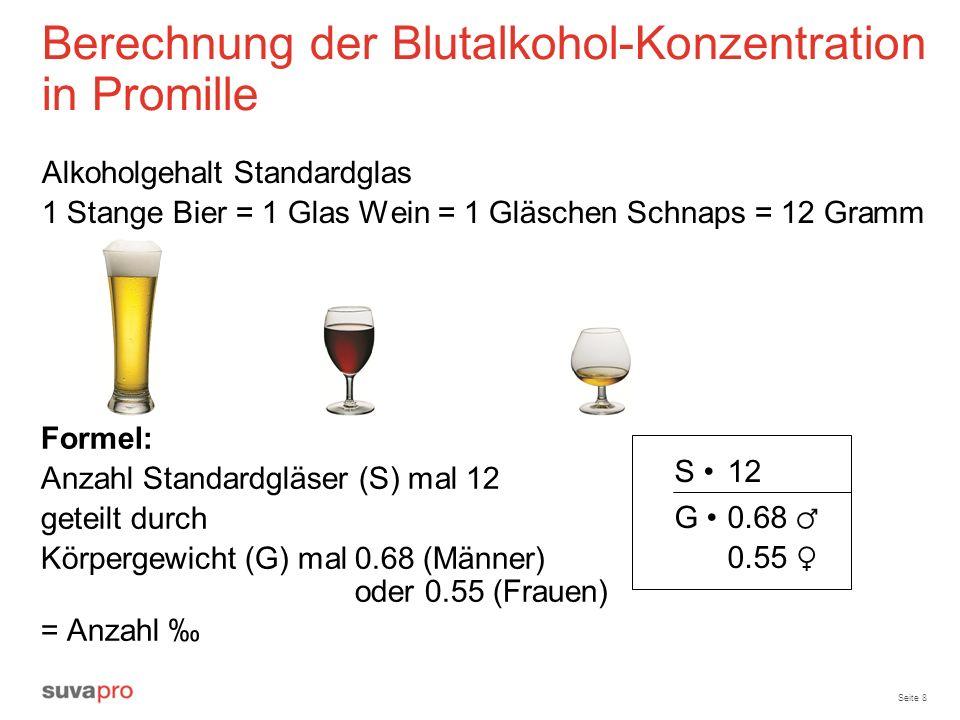 Seite 8 Berechnung der Blutalkohol-Konzentration in Promille Alkoholgehalt Standardglas 1 Stange Bier = 1 Glas Wein = 1 Gläschen Schnaps = 12 Gramm Fo