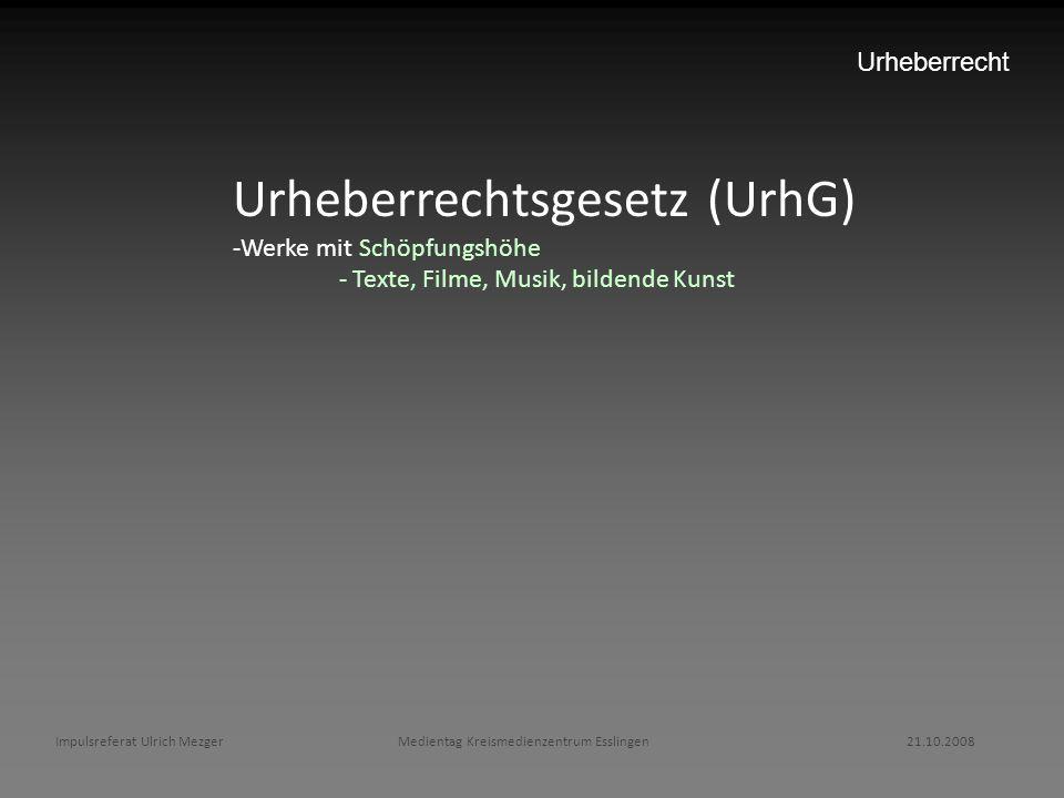 Impulsreferat Ulrich Mezger Medientag Kreismedienzentrum Esslingen 21.10.2008 Urheberrecht Urheberrechtsgesetz (UrhG) -Werke mit Schöpfungshöhe - Text