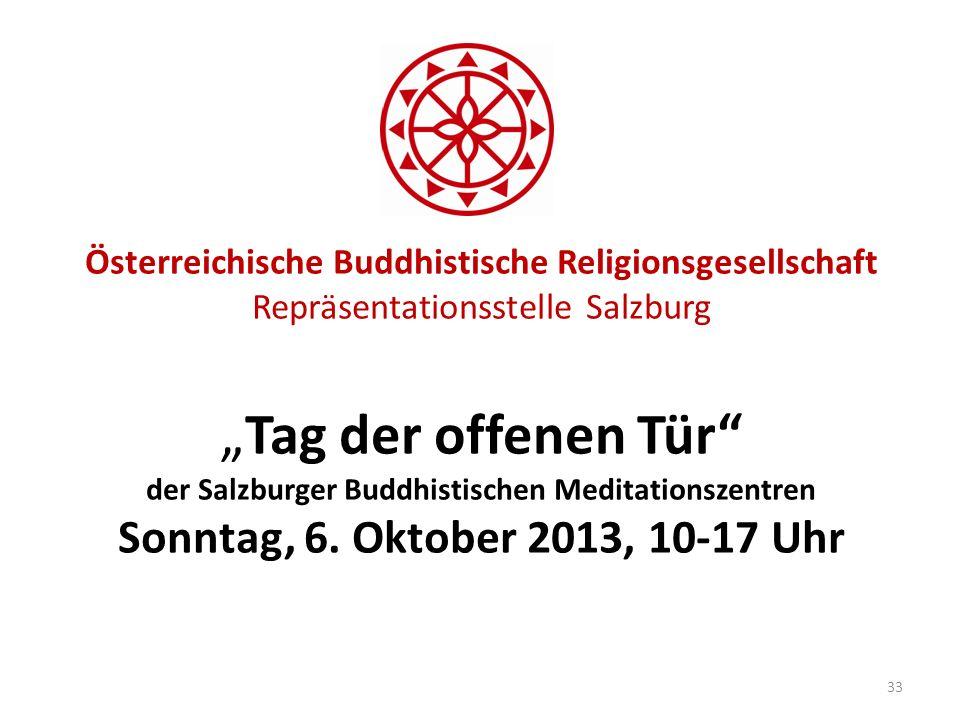 Österreichische Buddhistische Religionsgesellschaft Repräsentationsstelle SalzburgTag der offenen Tür der Salzburger Buddhistischen Meditationszentren