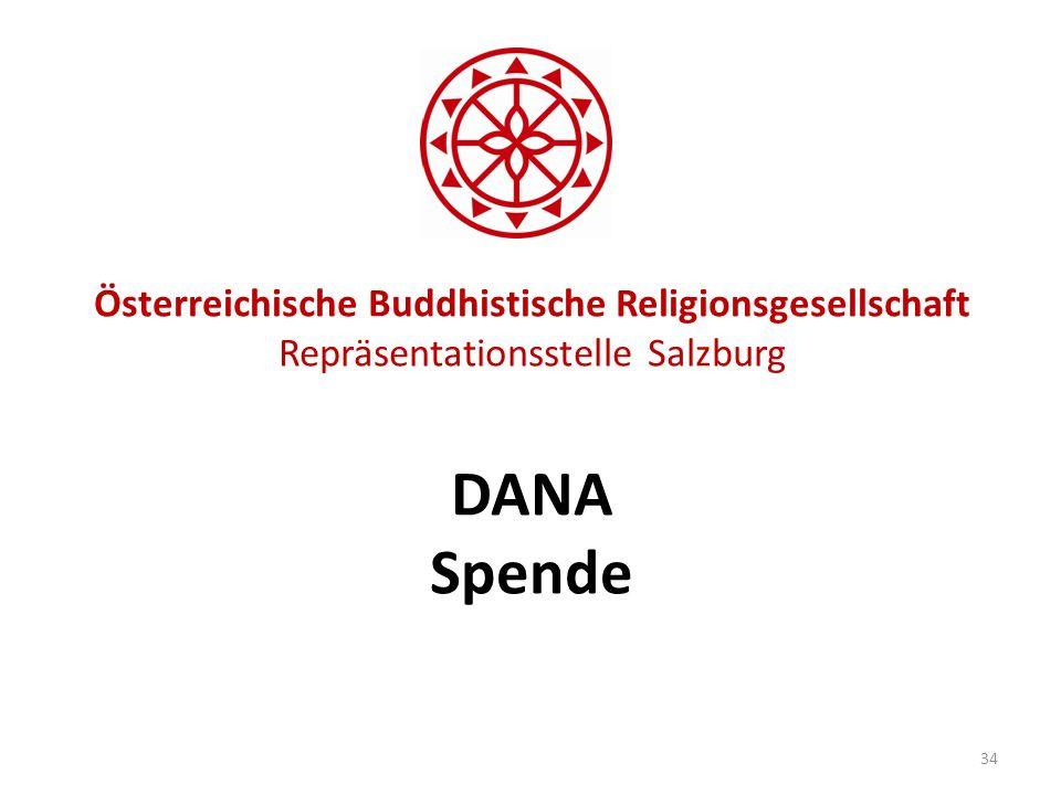Österreichische Buddhistische Religionsgesellschaft Repräsentationsstelle Salzburg DANA Spende 34