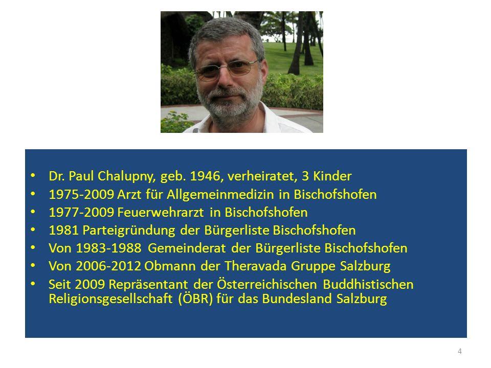 Dr. Paul Chalupny, geb. 1946, verheiratet, 3 Kinder 1975-2009 Arzt für Allgemeinmedizin in Bischofshofen 1977-2009 Feuerwehrarzt in Bischofshofen 1981