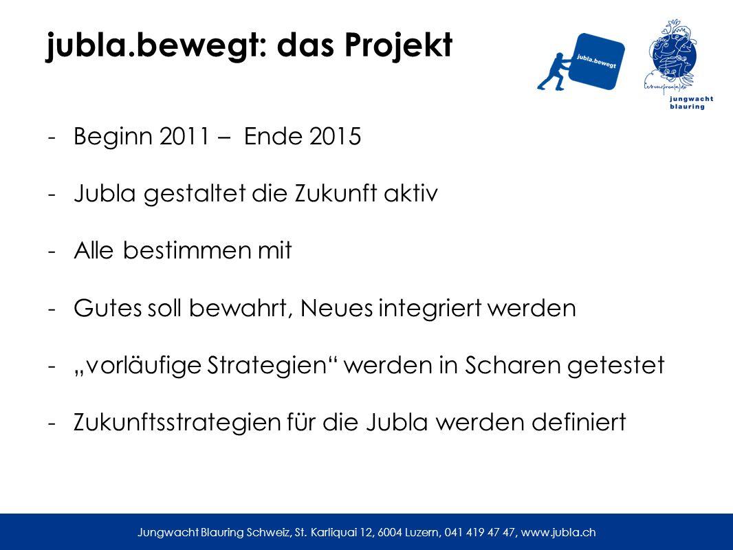 jubla.bewegt: das Projekt -Beginn 2011 – Ende 2015 -Jubla gestaltet die Zukunft aktiv -Alle bestimmen mit -Gutes soll bewahrt, Neues integriert werden -vorläufige Strategien werden in Scharen getestet -Zukunftsstrategien für die Jubla werden definiert Jungwacht Blauring Schweiz, St.