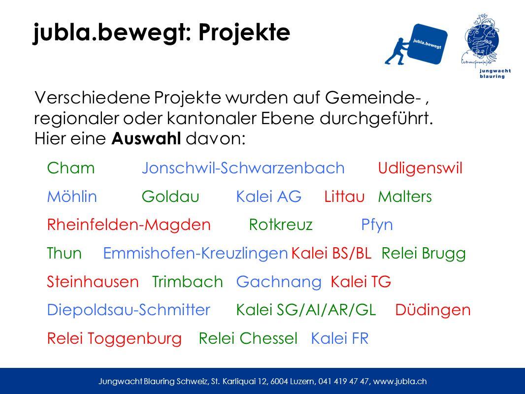 jubla.bewegt: Projekte Verschiedene Projekte wurden auf Gemeinde-, regionaler oder kantonaler Ebene durchgeführt.