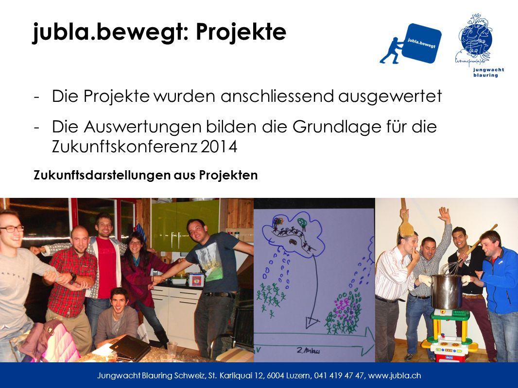 jubla.bewegt: Projekte -Die Projekte wurden anschliessend ausgewertet -Die Auswertungen bilden die Grundlage für die Zukunftskonferenz 2014 Zukunftsdarstellungen aus Projekten Jungwacht Blauring Schweiz, St.