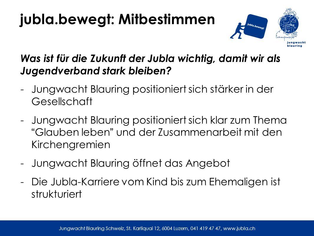 jubla.bewegt: Mitbestimmen Was ist für die Zukunft der Jubla wichtig, damit wir als Jugendverband stark bleiben.